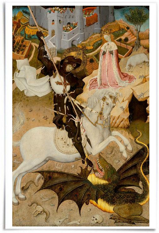 "12x18"" Poster: Saint George and the Dragon - Artist: Bernat Martorell"