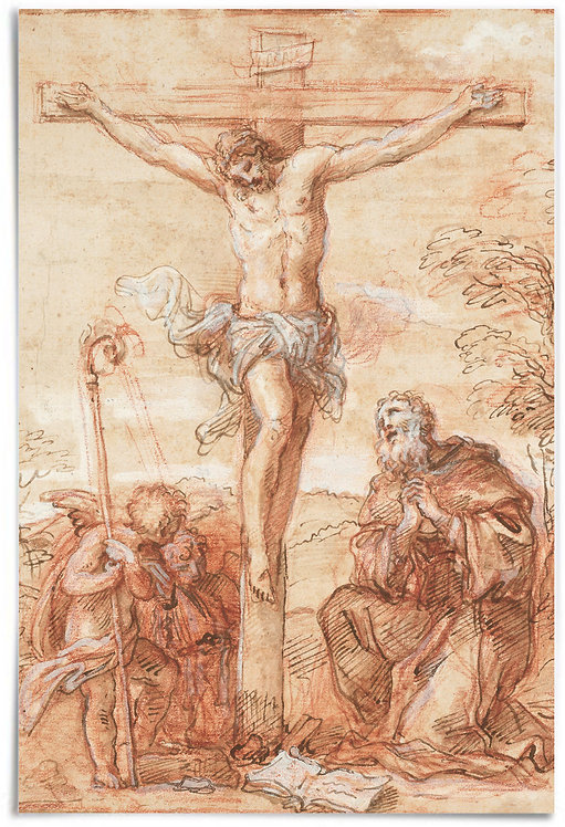 St Augustine and Two Angels Adoring the Crucifix - Giuseppe Passeri 24x36 Poster