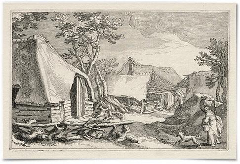 """Landscape with Farmhouses, 1613-1614, Boetius à Bolswert - 24x36"""" Poster"""