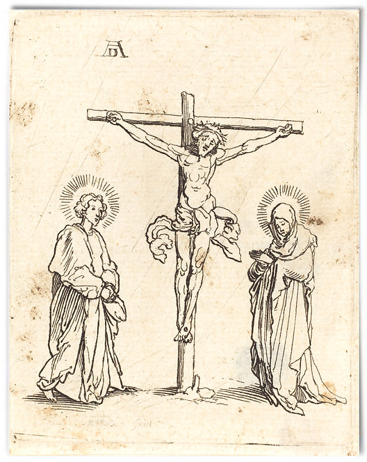 The Crucifixion with the Virgin and Saint John, German 16th century -22x28 Print