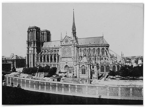 """Notre-Dame Cathedral, 1860s photo, Édouard Baldus - 18x24"""""""