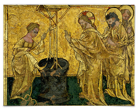 Jesus and the Samaritan Woman at the Well, ca. 1420 (SW German) - 16x20 Poster