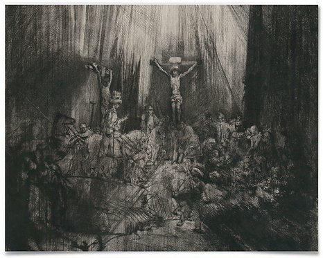 Christ Crucified between Two Thieves: The Three Crosses, Rembrandt, 16x20 Poster