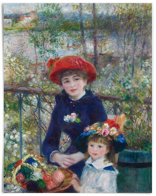 """22x28"""" Poster: Two Sisters (On the Terrace), 1881 - Pierre-Auguste Renoir"""