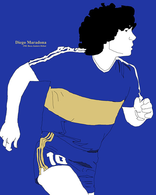 "POSTER - 16x20"": Diego Maradona (1981 Boca Juniors Debut), Simple Illustration"