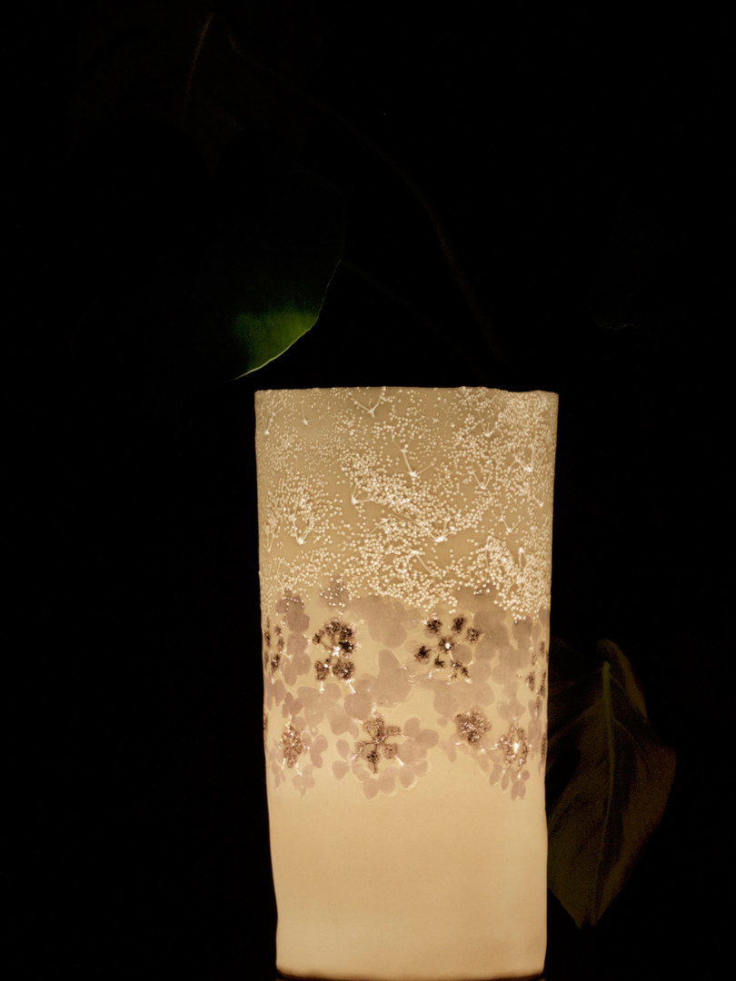 3. Viburnum with lustre lamp