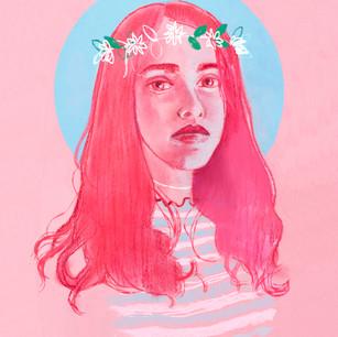 Pastel and digital editorial illustration - Self Portrait