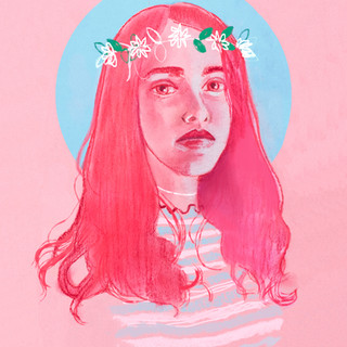Pastel and digital editorial illustration - Self Portrait