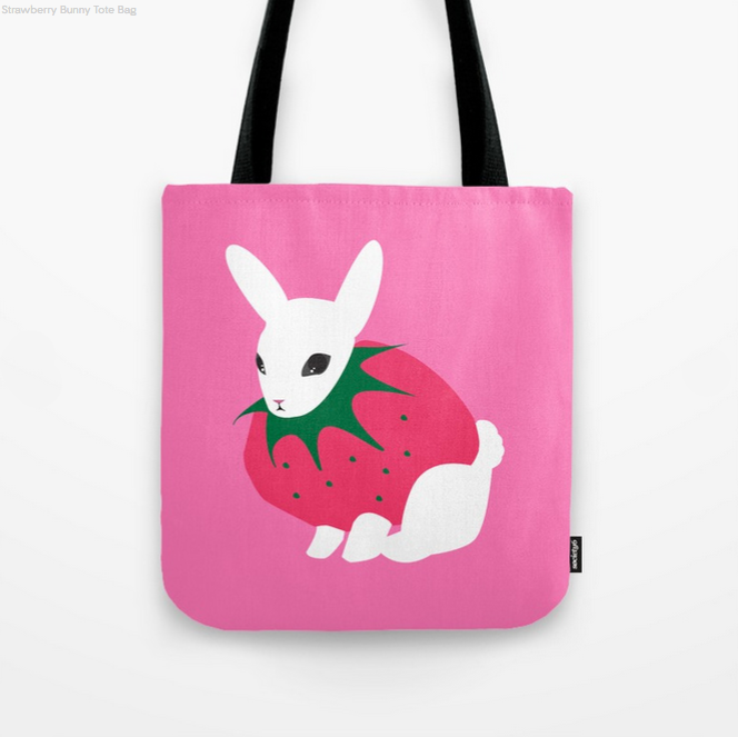 Strawberry Bunny tote bag available on Society6!