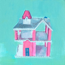 """Painting of the mini dollhouse within the Playschool dollhouse. 6""""x6"""", acrylic on wood."""