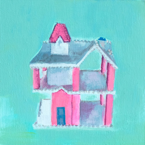 "Painting of the mini dollhouse within the Playschool dollhouse. 6""x6"", acrylic on wood."
