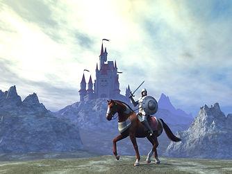 Ritter auf Pferd mit Burg im Hintergrund