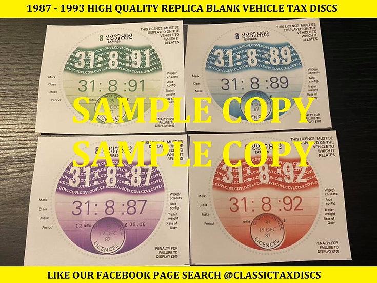 1987 - 1993 Repro Tax Discs