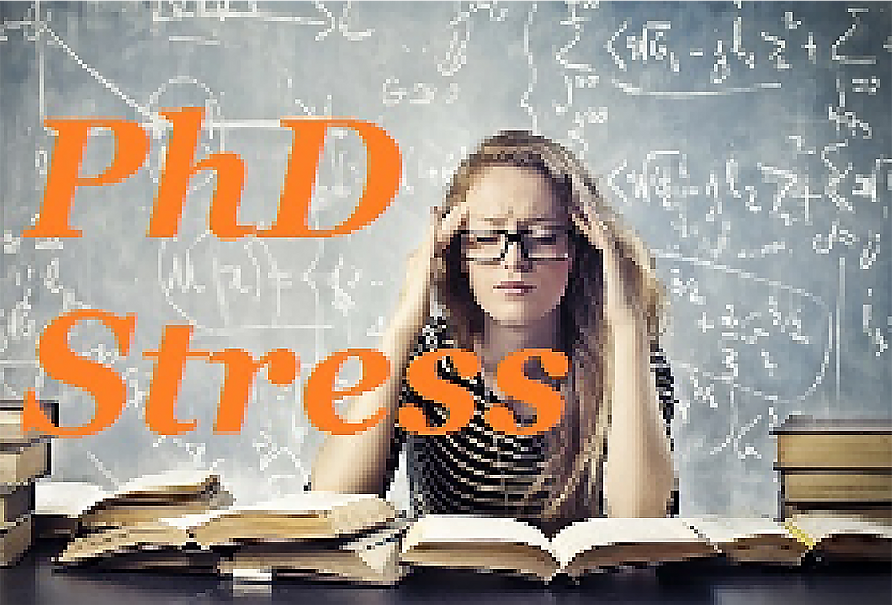 PhD Stress, student with books