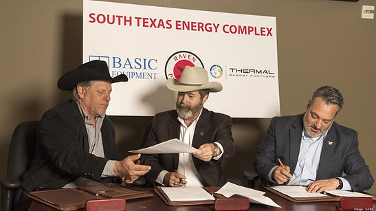 James Jackson with Thermal Energy Partners signs MOU with Raven Petroleum to build geothermal power and desalination plant.
