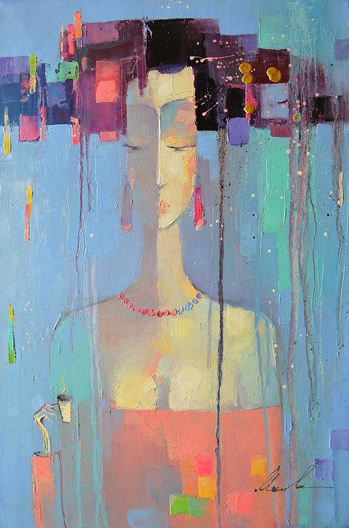 Лилово-голубые мечты. Дама и кофе