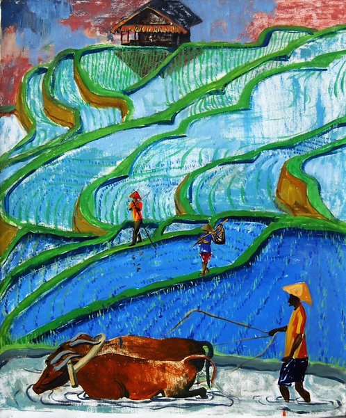 Голубой день на рисовых террасах