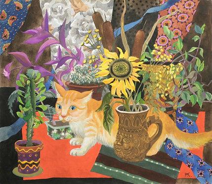 Натюрморт с рыжей кошкой