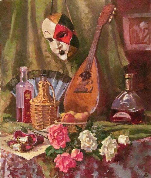 Натюрморт в маской и мандолиной