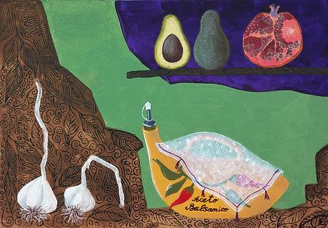 Натюрморт с фруктами и чесноком