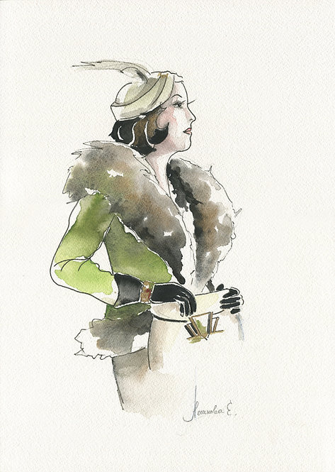 Коллекция Арт Деко. Девушка в зеленом