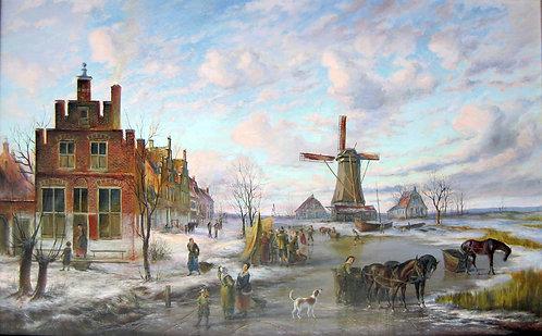 В деревне на закате дня