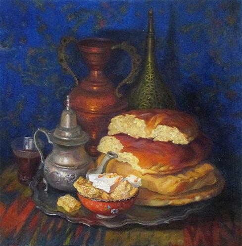 Восточный натюрморт с хлебом