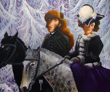 Наталья Николаевна на конной прогулке с мужем
