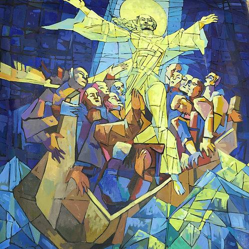 Христос и 12 Апостолов в лодке