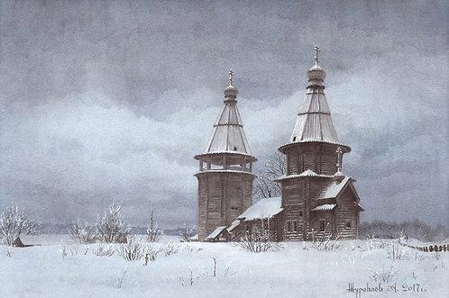Зима. Варваринская церковь на Яндомозере. Заонежье