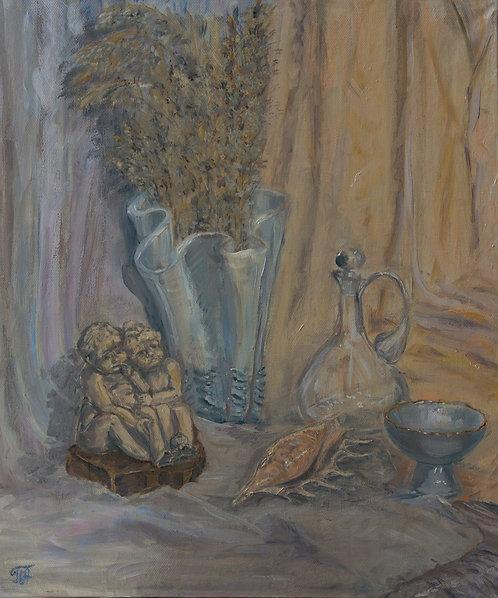 Натюрморт с ангелочками и ракушкой