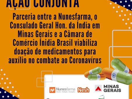 Ação Conjunta entre CCIB e Nunesfarma viabiliza Doações de medicamentos ao Estado de Minas Gerais