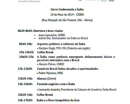 "Programa Curso ""Conhecendo a Índia"""