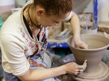 Freya Bramble Carter at the potters whee