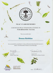 Professional Facial Practitioner Certification - Neal's Yard Remedies Holistic Organic Aromatherapy - Donna Robbins Therapies in Margate, Thanet, Kent
