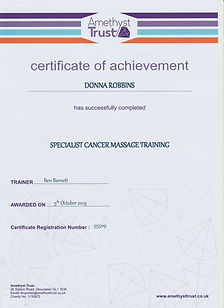Donna Robbins Therapies in Margate, Thanet, Kent - Amethyst Trust Cancer Massage Course Professional Certification