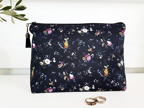 Ditsy dark floral spray makeup bag, travel bag, cosmetic bag.