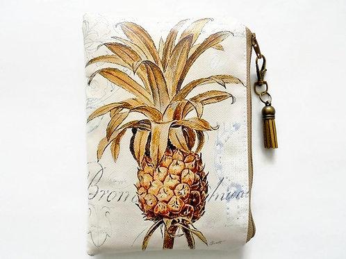 Pineapple print, waterproof wallet, zipper, wipe clean bag.
