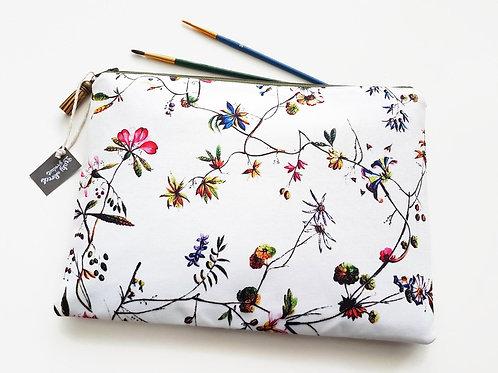 Large Botanical print Washbag,Floral print toiletry bag,floral cosmetic bag
