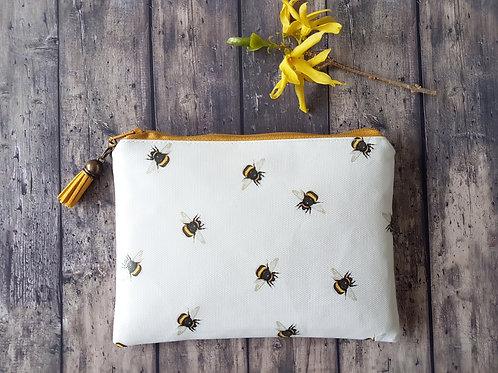Bumble bees print, vegan, water resistant zipper wallet.
