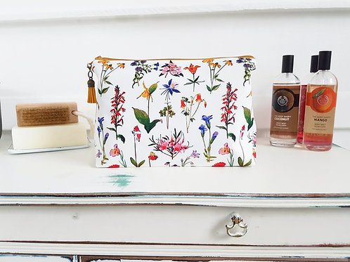 Floral spray make-up bag, travel bag, cosmetic bag, zip bag, make up b