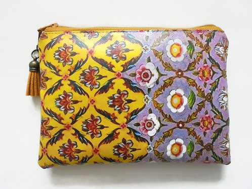 Purple and yellow floral faux leather vegan zipper pouch wallet.