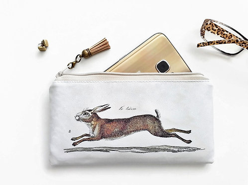 Vegan leather Phone sleeve,phone pouch,phone wallet,hares,rabbits,wildlife fabri
