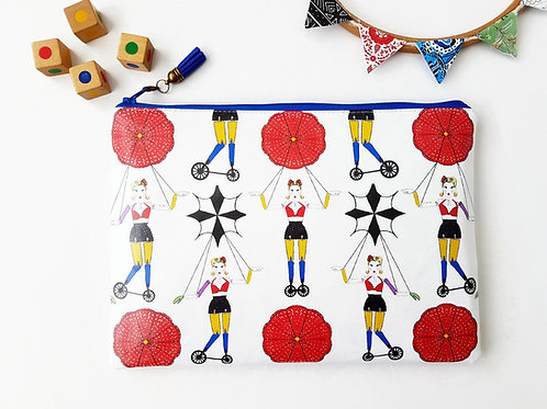 Faux leather washbag,parasols & Puppets,1930s inspired bag,large cosmetic bag,la