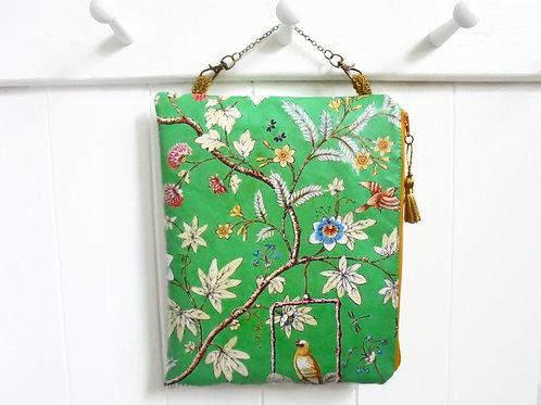 Chinoiserie Hanging Cosmetic bag,vegan vinyl bag.