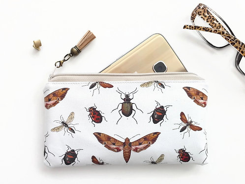 Phone sleeve,phone pouch,phone wallet,bugs,insects fabric.