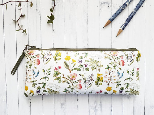 Botanical vegan leather,water resist outer pencil case.