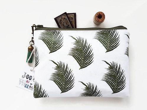 Fern print vegan vinyl zipper wallet.