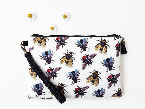 Bees canvas wristlet