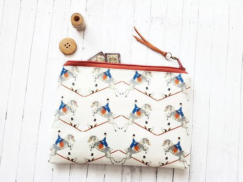 Equestrian print, horse fabric, vegan wallet.